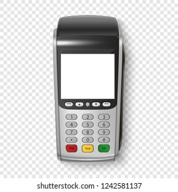 Vector Realistic Silver 3d Payment Machine. POS Terminal Closeup Isolated on Transparency Grid Background. Design Template of Bank Payment Terminal, Mockup. Processing NFC payments device. Top View