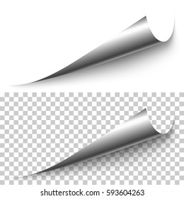 Vector realistic silver foil corner with shadow on transparent background. 3D page corner curled. Blank sheet of paper. Design element.
