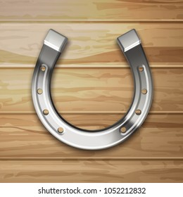 Vector realistic silver horseshoe on a woody background