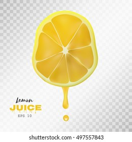 Vector realistic sliced lemon with drop of juice. Juicy fruit presentations postcards cards brochures and banners ,Poster banner print advertisement design object on light grey transparent background.