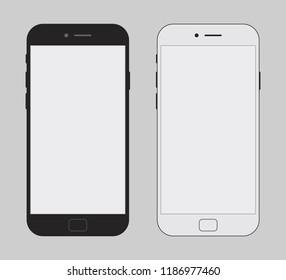 Vector realistic smartphone set with blank screen black and white color style isolated on background. Mock up mobile. 10 eps