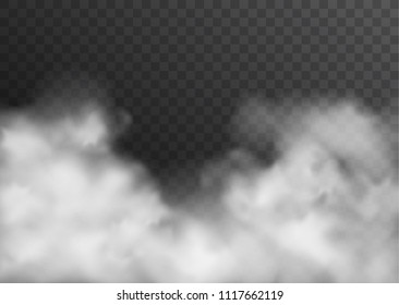 Vector realistic smoke, fog or mist transparent effect isolated on dark background
