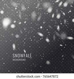 Vector realistic snowflake against a dark background. Transparent elements for Christmas cards and poster.