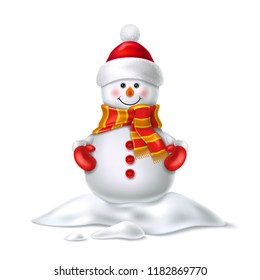 Vector realistic snowman smiling in snowbank snowdrift. Cute new year, christmas holiday character smiling in red mittens, scarf and hat. Winter outdoor kids fun symbol, greeting card design