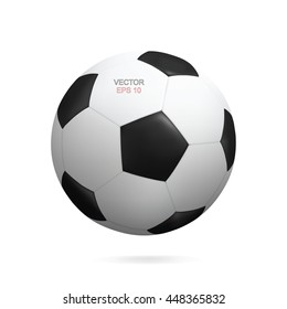 Vector realistic soccer ball isolated on white background.