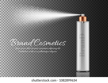 Vector realistic spray bottle isolated on transparent background. Container with sprayer for beauty product, body lotion, deodorant, facial freshener, perfume. Mockup for cosmetic brand promotion