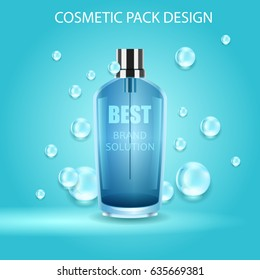 Vector realistic spray illustration. Cosmetic bottle and water drops