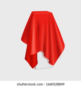Vector realistic stand covered with red silk cloth isolated on white background