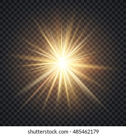 Vector realistic starburst lighting effect, yellow sun with rays and glow on transparent background. Bright star illuminated illustration