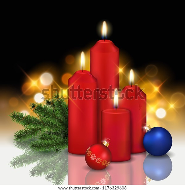 Vector realistic still life with four red burning candles, baubles and coniferous branch with shining blurred golden lights in the background - christmas greeting or illustration