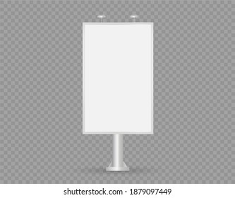 Vector realistic street Billboard isolated on transparent background. Mockup. vertical blank. Screen for presentation and advertising. Empty template. Front view. EPS 10.