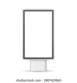 Vector realistic street lightbox. Vertical Mockup. City light billboard with  frame. Outdoor stand. Screen for presentation, promotion, advertising and design. Empty template. EPS10.