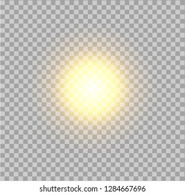 Vector realistic sun on transparent background.