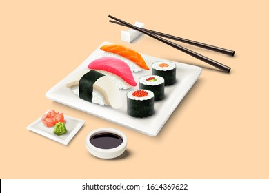 Vector realistic sushi set with chopsticks, sauce bowls and square plate.