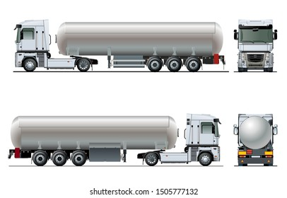 Vector realistic tanker truck template isolated on white. Available EPS-10 separated by groups and layers with transparency effects