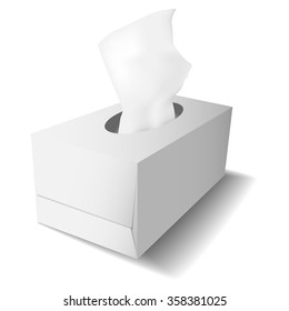 Vector realistic template with box for paper tissues in white.
