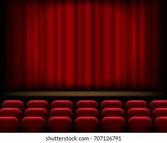 Vector realistic theatre scene with red curtains and empty seats