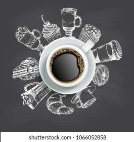 Vector realistic top view cup of coffee with sketch sweets around it. Doodle donut, cake, cupcake, croissant and coffee drinks. Coffee chalkboard style design.