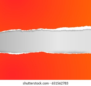 vector realistic torn, ripped paper template with place for your text or logo. Cut off paper edge frame for poster banner print flayer design