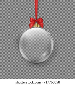 Vector realistic Transparent Christmas ball hanging on red ribbon on a dark background. Transparent vector object for design, mock-up Vector template