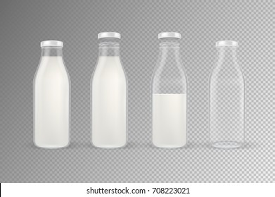 Vector realistic transparent closed and open empty and full glass milk bottle set with white lid closeup isolated on transparent background. Design template for advertise, branding, mockup. EPS10.
