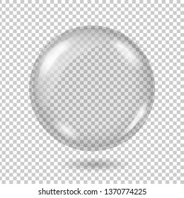 Vector realistic transparent glass ball or sphere with shadow on a plaid backgraund. 3D illustration. EPS 10.