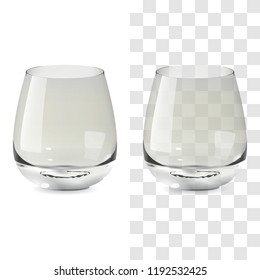 Vector realistic transparent and isolated whiskey tumbler glass. Alcohol drink glass icon illustration