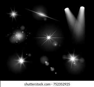 Vector realistic transparent light effects and lens flares isolated on black background