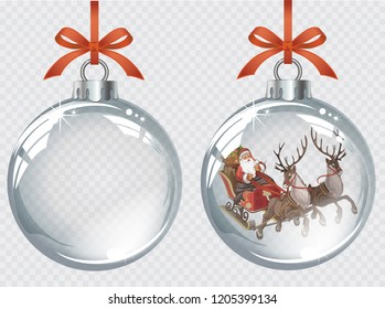 Vector realistic transparent silver Christmas balls with Santa driving his sleigh