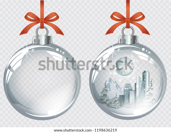 Vector realistic transparent silver Christmas balls with winter city, snow and moon