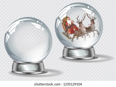 Vector realistic transparent snow globe with snow and Santa driving his sleigh on a light abstract background