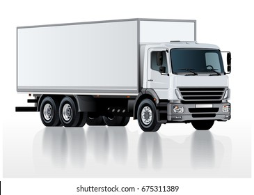 Vector realistic truck template isolated on white. Available EPS-10 separated by groups and layers with transparency effects for one-click repaint