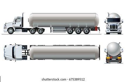 Vector realistic tunker truck template isolated on white. Available EPS-10 separated by groups and layers with transparency effects