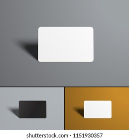 Vector realistic universal mock-up  gift or bank card. Set of white and black, with multi-colored backgrounds.