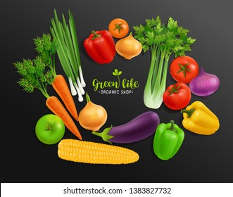 Vector realistic Vegetables set with Vegetal logo sign for Organic Shop on black background. Realistic Vegetables of eggplant, onion, peppers, corn, carrot, selery. Organic Raw Food Brand template