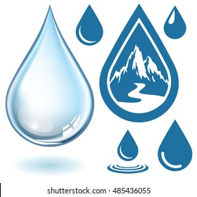 Vector realistic water drop and set of icons