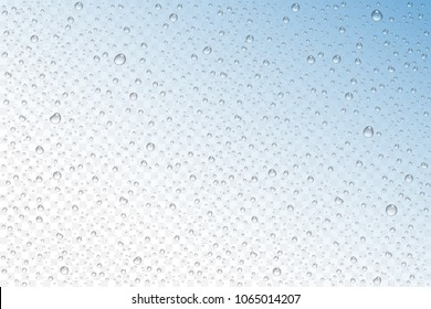 Vector realistic water drops condensed on transparent background. Rain droplets without shadows for transparent surface. Pure water bubbles isolated. Many forms and sizes.