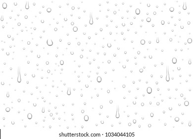 Vector realistic water drops on white background. Rain drops without shadows for transparent surface. Many forms and sizes.