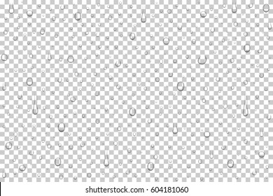 Vector realistic water drops on transparent background. Rain drops without shadows for transparent surface. Many forms and sizes
