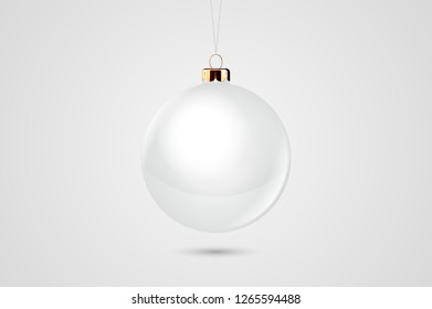Vector Realistic White 3d Christmas Glossy Glass Ball Icon, Mock-up Closeup Isolated on White Background. Design Template of Xmas and New Year Tree Toy Decoration Ball for Mockup. Front View