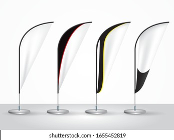 Vector realistic white banner flags 3d. Textile waving advertisement banner flags.