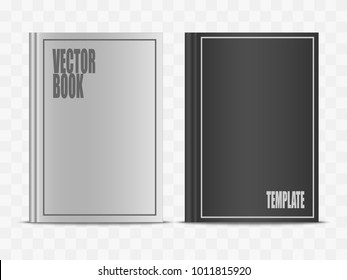 Vector realistic white and black book mock up isolated on transparent background. 3d vertical front view notebook mockup illustration for your design. Hardcover closed standing diary template