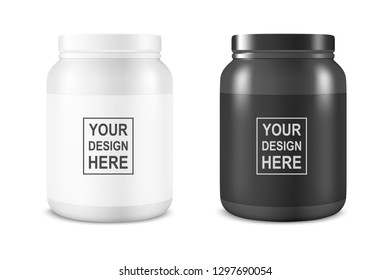Vector Realistic White and Black Plastic Jar, Can with Lid Set Closeup Isolated on White Background. Design Template of Whey Protein, Sport Powder, Vitamins, BCAA, Pills, Caps for Mockup. Front View