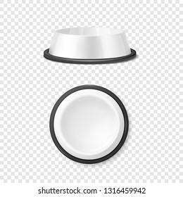 Vector Realistic White Blank Plastic or Metal Pet Bowl Icon Set, Mock-up Closeup Isolated on Transparent Background. Design Template of Bowl for Pet, Cat, Animal Food for Mockup. Front and Top View