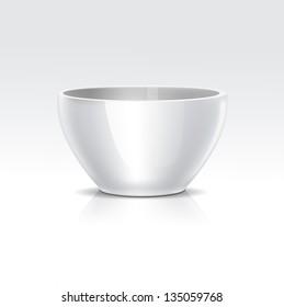 Vector Realistic White Bowl