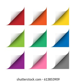 Vector realistic white paper corners set with soft shadow on white background. 3D page corners curled. Paper corners rolled with red, orange, yellow, green, blue, purple and gray background
