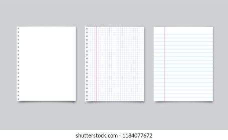Vector realistic white paper and lined paper with shadow