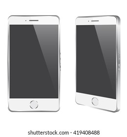 Vector realistic white stylish phone (mock  up) for your logos,designs, apps, icons isolated on white
