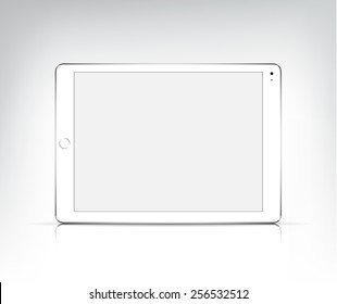 vector realistic white tablet pc, apple ipad air 2 with empty screen isolated. Mock up