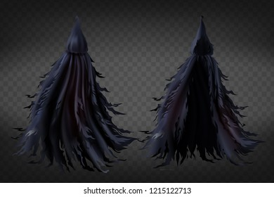 Vector realistic witch costume with hood, black ragged cape for Halloween party isolated on transparent background. Scary grim reaper fancy dress for masquerade, magic tattered warlock clothes